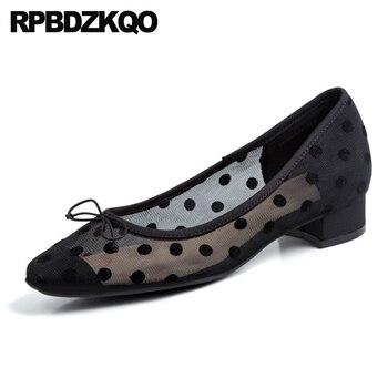 Señoras 2019 bajo talón polka dot rojo slip on square toe arco negro de alta calidad plata mujeres diseñador zapatos china malla transpirable