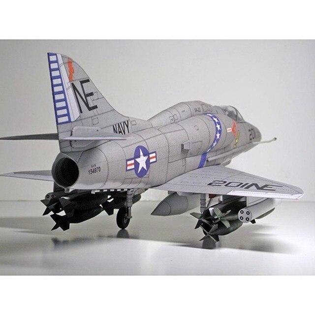 1:33 U.S. A-4 Skyhawk Aircraft DIY Emulational DIY 3D Paper Card Model Building Set Educational Military Model Construction Toys 3