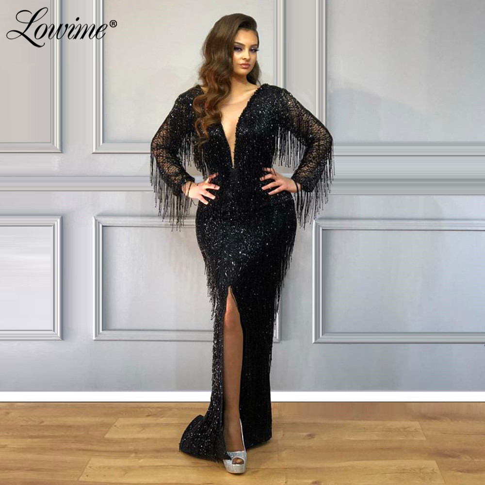 Black Evening Dresses Beads Tassels Mermaid Party Dress 2020 Islamic Dubai Arabic Formal Dress Women Prom Gowns Robe De Soiree