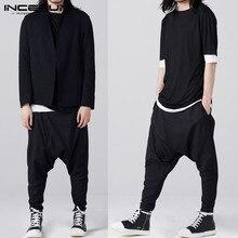 INCERUN Men Gothic Sweatpants Male Buttons Trousers Black Men Streetwear Spring Mens Harem Joggers Pants Solid Cargo Pants 5XL