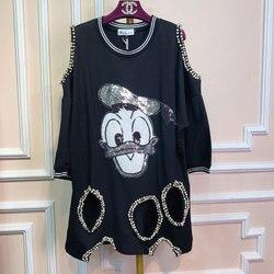 Original Thai tide brand spring and autumn cartoon sequins hole pearl irregular off-shoulder sweater in long shirt
