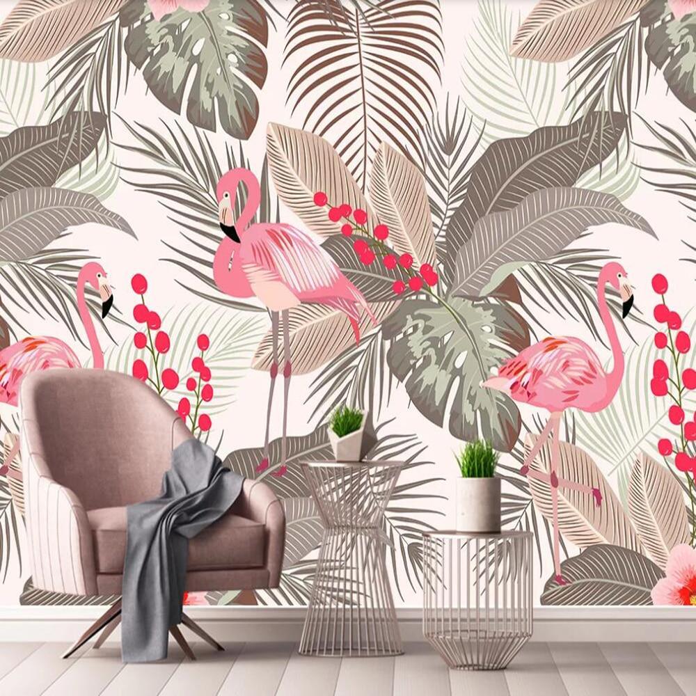 Milofi Custom Large 3D Wallpaper Mural Nordic Simple Flamingo Tropical Leaves Living Room Wall Decoration Wallpaper Mural