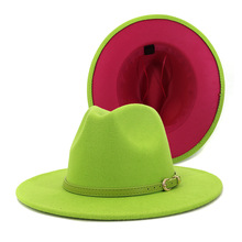 High Quality Patchwork Outer Lime Green Inner Rose Red Wool Felt Hat with Belt Buckle Church Hats Fedora Hat for Women cheap HUDANHUWEI Unisex COTTON Polyester Adult Casual Plain Weave Fruit Green + Rose Red Summer Winter Spring Autumn Europe and the United States