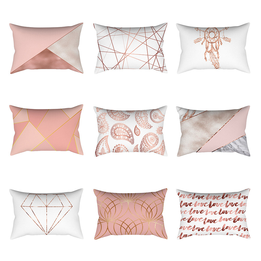 Ouneed Pillow Case Decorative Rose Gold Pink Cushion Cover Square Pillowcase Home Decoration 30cm * 50cm Pillow Cases Home Decor