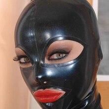 Сексуальная черная маска на все лицо из натурального латекса фетиш маска открытые глаза рот с задней молнией