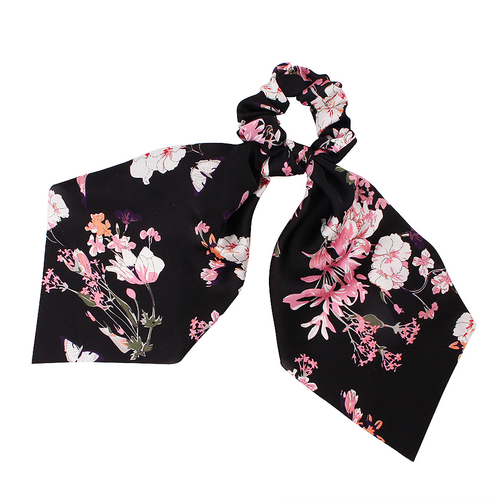 Hfb0a61f008134ead814494890e3e3bcf5 - Fashion Silk Satin Summer Ponytail Scarf Stripe Flower Print Ribbon Hairbands Hair Scrunchies Vintage Girls Hair Accessoires