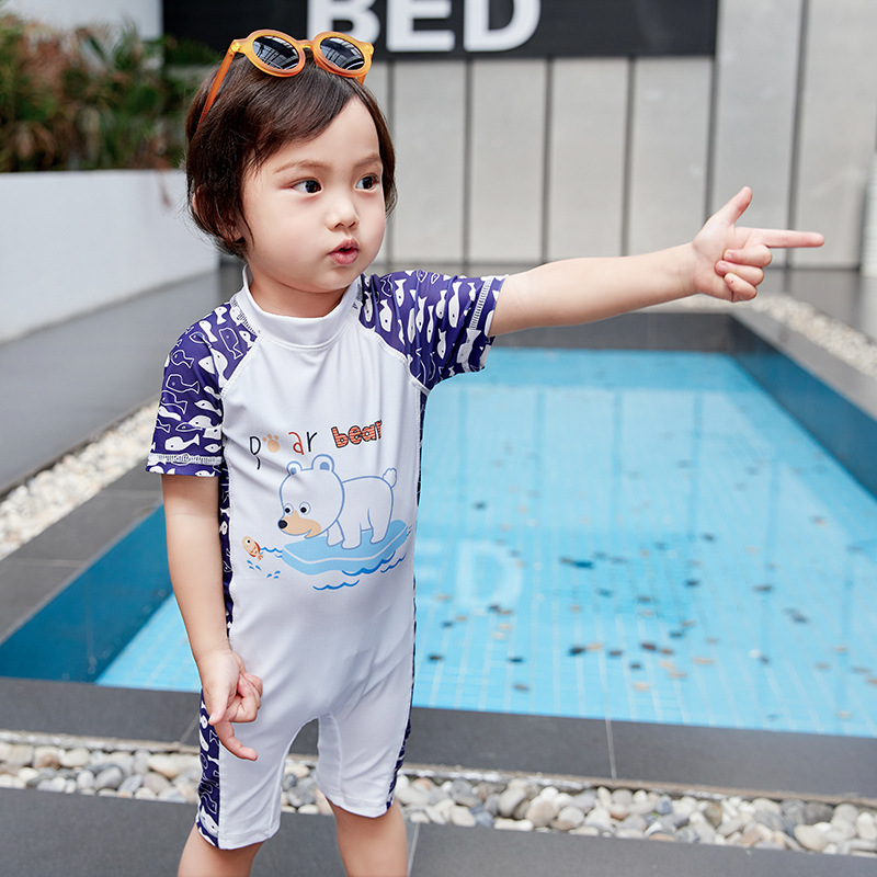 2019 New Style KID'S Swimwear BOY'S Summer 0-12-Year-Old Children One-piece Bear Cute Cartoon Swimming Suit