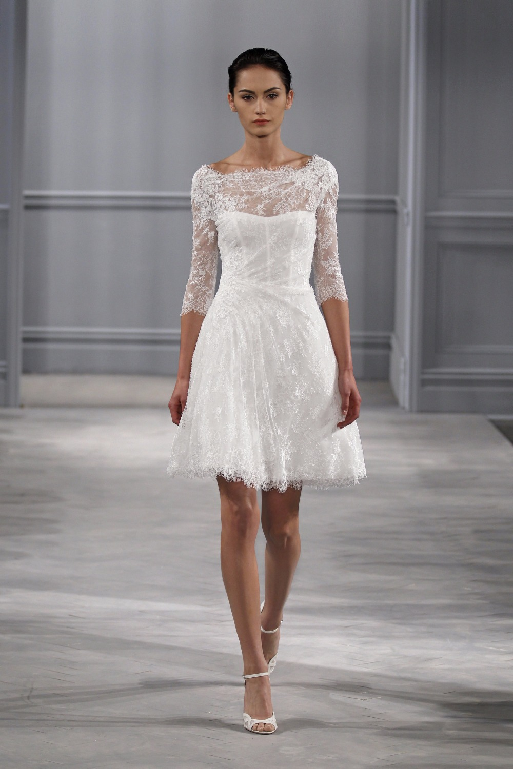 Direct Selling Hot Sale Short Vestido De Novia Off The Shoulder All Lace Bridal Gown With Sleeves Mother Of The Bride Dresses