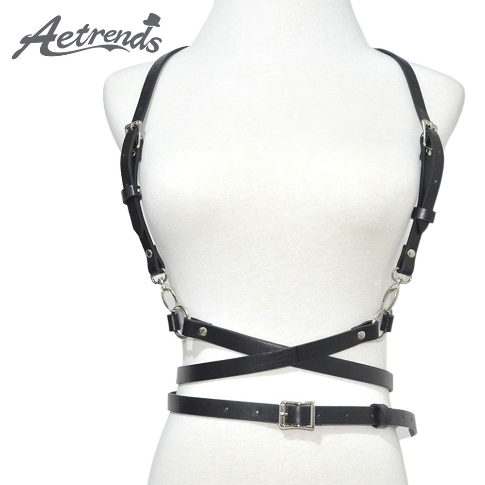[AETRENDS] Body Chest Harness Punk PU Leather Belt Adjustable With Buckles And O-Rings For Women D-0122