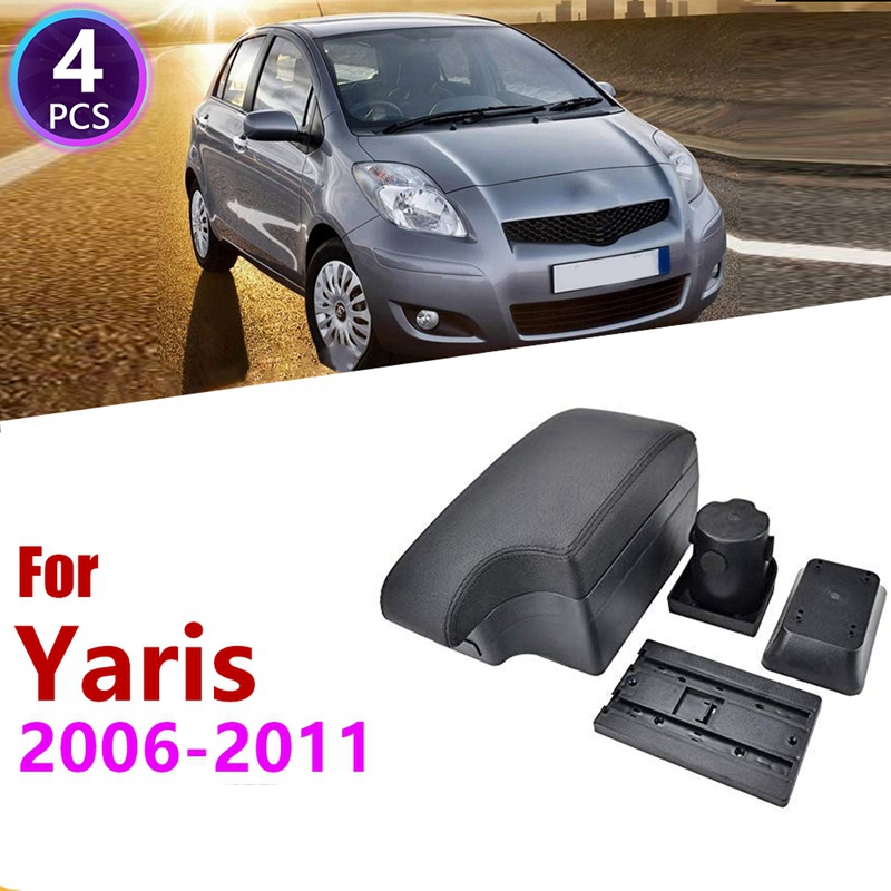 Car Center Console Box Armrest Box Rotatable Storage Box for Toyota Yaris Vitz Hatchback 2006   2011|Stowing Tidying| |  -