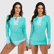 Swimsuit Women Long Sleeve Print Diving Surfing Suit Set Swimwear Beachwear Suit Summer Beach Wear Two-piece swimsuit купальник(China)