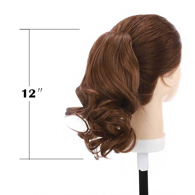 S-noilite Short Wavy Ponytail Claw Jaw in Hairpiece Synthetic Clip in Hair tail for women Black Brown Pony Tail 3