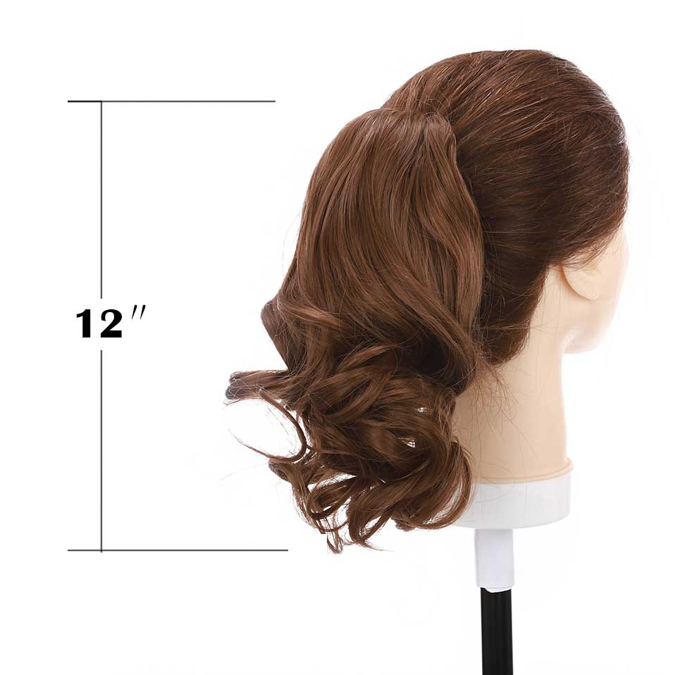 S-noilite Short Wavy Ponytail Claw Jaw In Hairpiece Synthetic Clip In Hair Tail For Women Black Brown Pony Tail