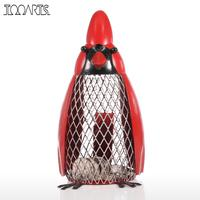 Bird Money Bank with Red Clothes Iron Handmade Bird Shape Coin Bank Practical Craft Home Decoration Accessories Gift