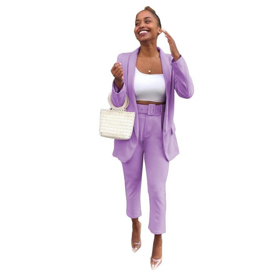 ZITY Purple Women Suits Elegant Office Ladies Work Blazer Set Two Piece Set Business Ol Costume Femme Pants Suit Black