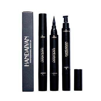 HANDAIYAN zakończone z dwóch stron ciecz czarny Eyeliner ołówek z znaczek wodoodporny naturalne ołówek z znaczek wodoodporny łatwe do noszenia tanie i dobre opinie ELECOOL CN (pochodzenie)