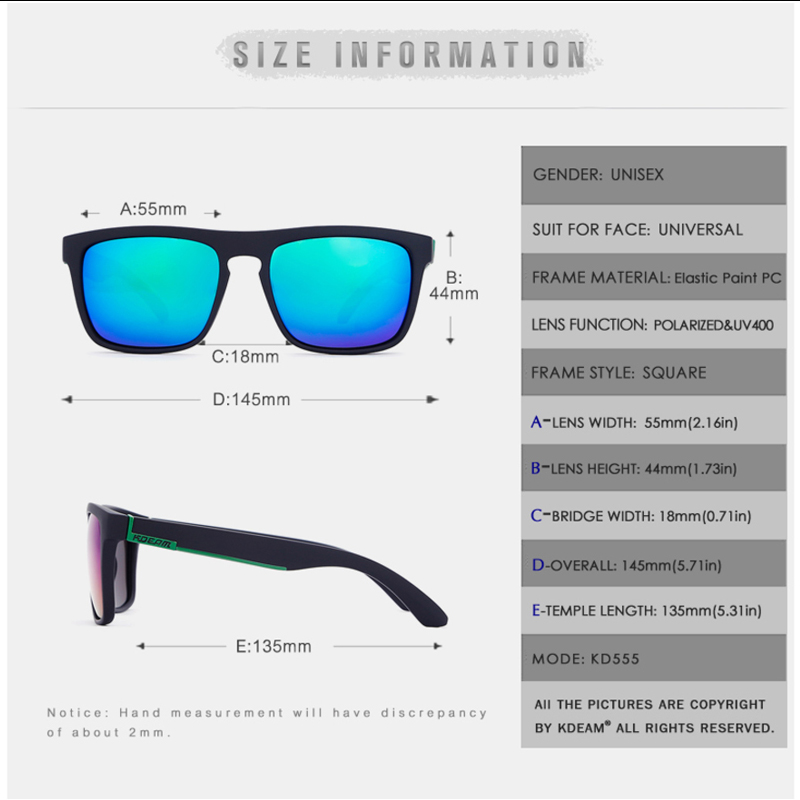US $5.87 50% OFF|KDEAM Fashion Square Polarized Sunglasses Men Purple Red Blue Mirror 100% UV Lens Sun Glasses Outdoor Sports Goggles CE KD129|Men's