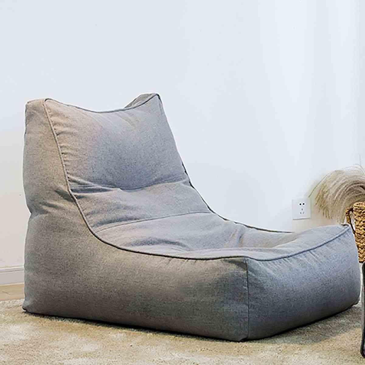 Lazy Cotton Linen krzesło worek fasoli narzuta na sofę bez wypełnienia w jednolite kolory leżak Seat pufa Puff Couch dla Home Office Game Party