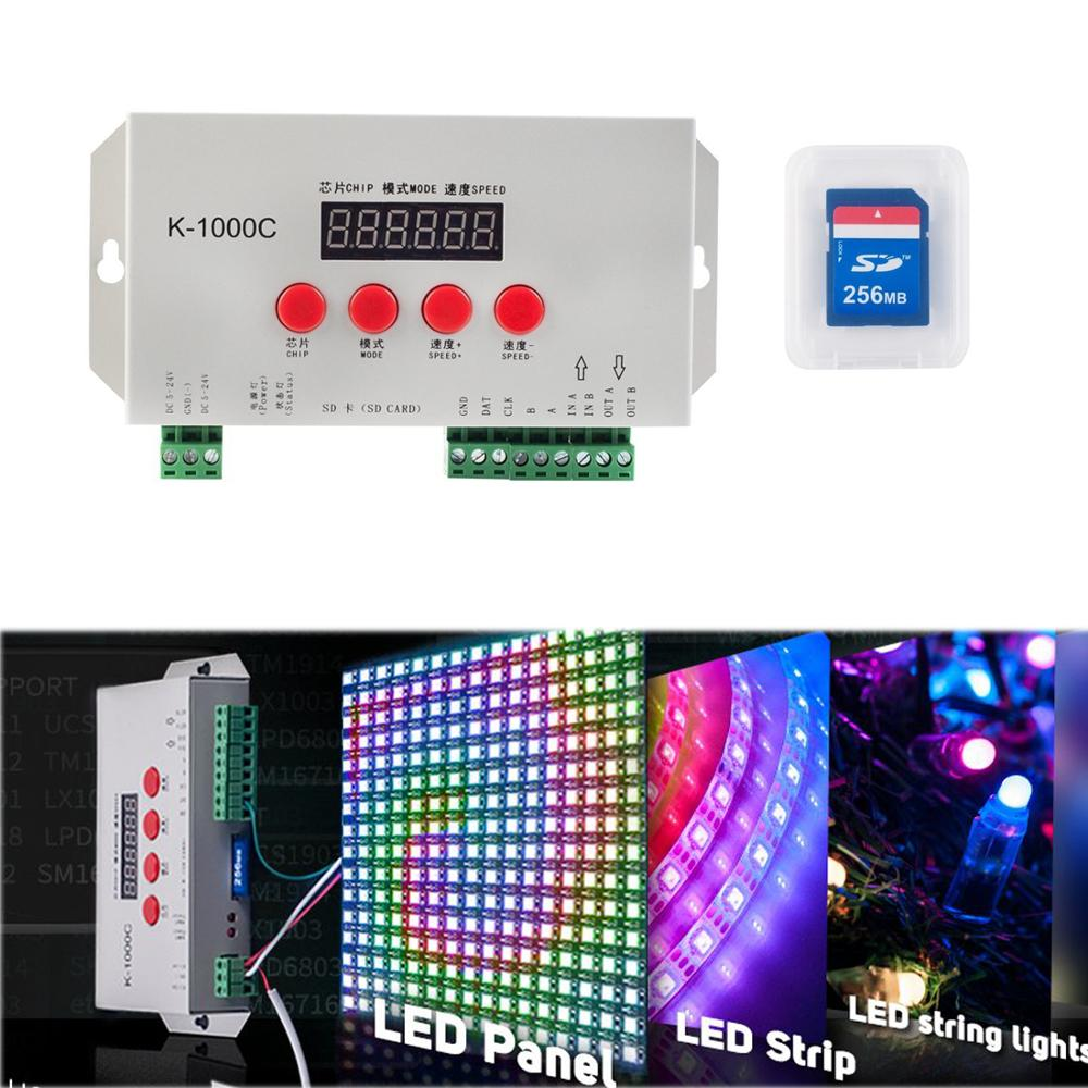 K-1000C LED Strip Program Controller 2048 Pixels WS2812B APA102C SK6812 WS2811 5V 24V SD Card Controller Led Pixel Controller