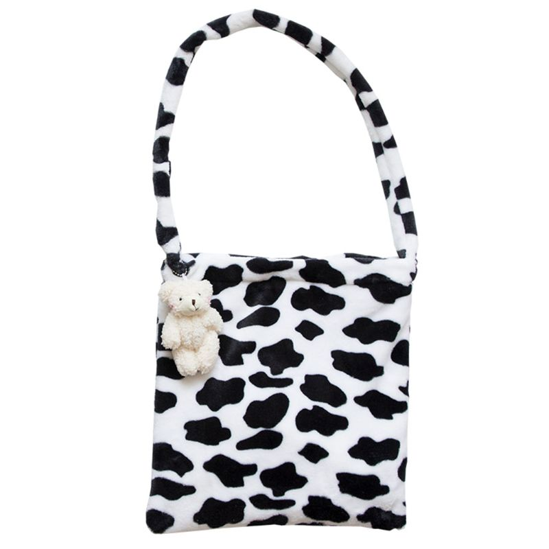 WoMan Lady Milk Cow Pattern Shoulder Bag Tote Messenger Crossbody Satchel