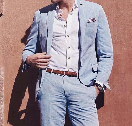ANNIEBRITNEY Linen Blue Summer Men Suit Wedding Suits For Men Classic Beach Tuxedo Casual Jacket Pants Custom Big Size Suits Set
