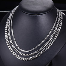 stainless steel mens necklaces silver curb cuban link chains on the neck male accessories punk fashion necklaces 2019 wholesale(China)