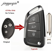 Jingyuqin Модернизированный дистанционный автомобильный брелок с откидной крышкой 3 кнопки 434 МГц ID46 для Citroen X-Sara C3 C5 до 2009 года с нерезаемым лезв...