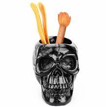 Black Skull Ornament Skeleton Pen Holder Desktop Pencil Organizer Makeup Storage C90F