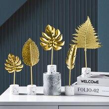 Nordic Thuis Decoratie Gouden Sieraden Moderne Kamer Meubels Accessoires Smeedijzeren Blad Desktop Sculptuur Bruiloft Decoratie