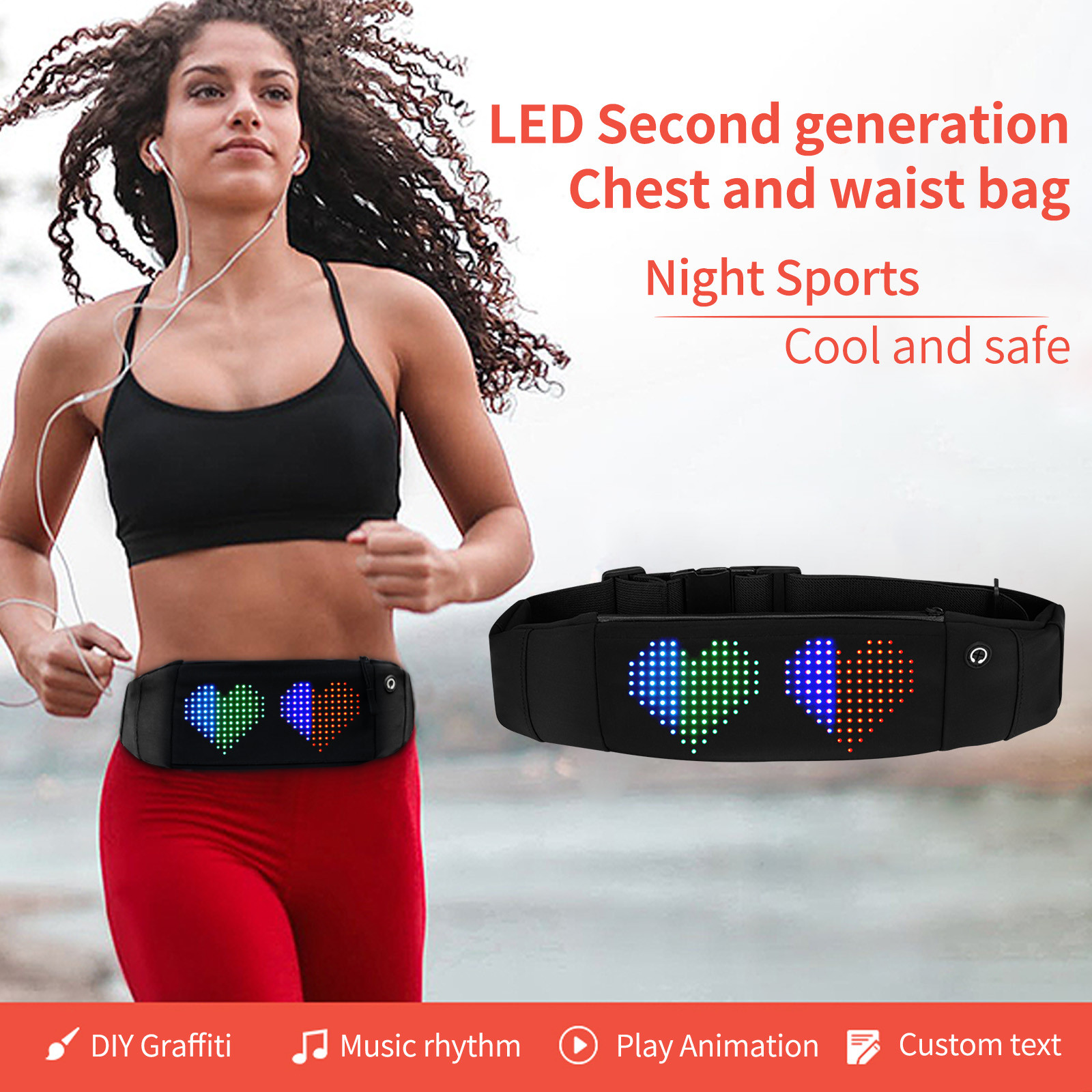 Chest Bag Waist Bag Nigh Running Cycling Jogging Gym Sports Bag LED Connection Blurtooth Outdoor Sports Belt Portable Durable
