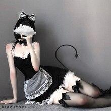 Ojbk Sexy Franse Maid Cosplay Kostuums Korte Mini Lace Jurk Met Hoofdband Gothic Donkere Kleur Stijl Rollenspel Lingerie Voor paar