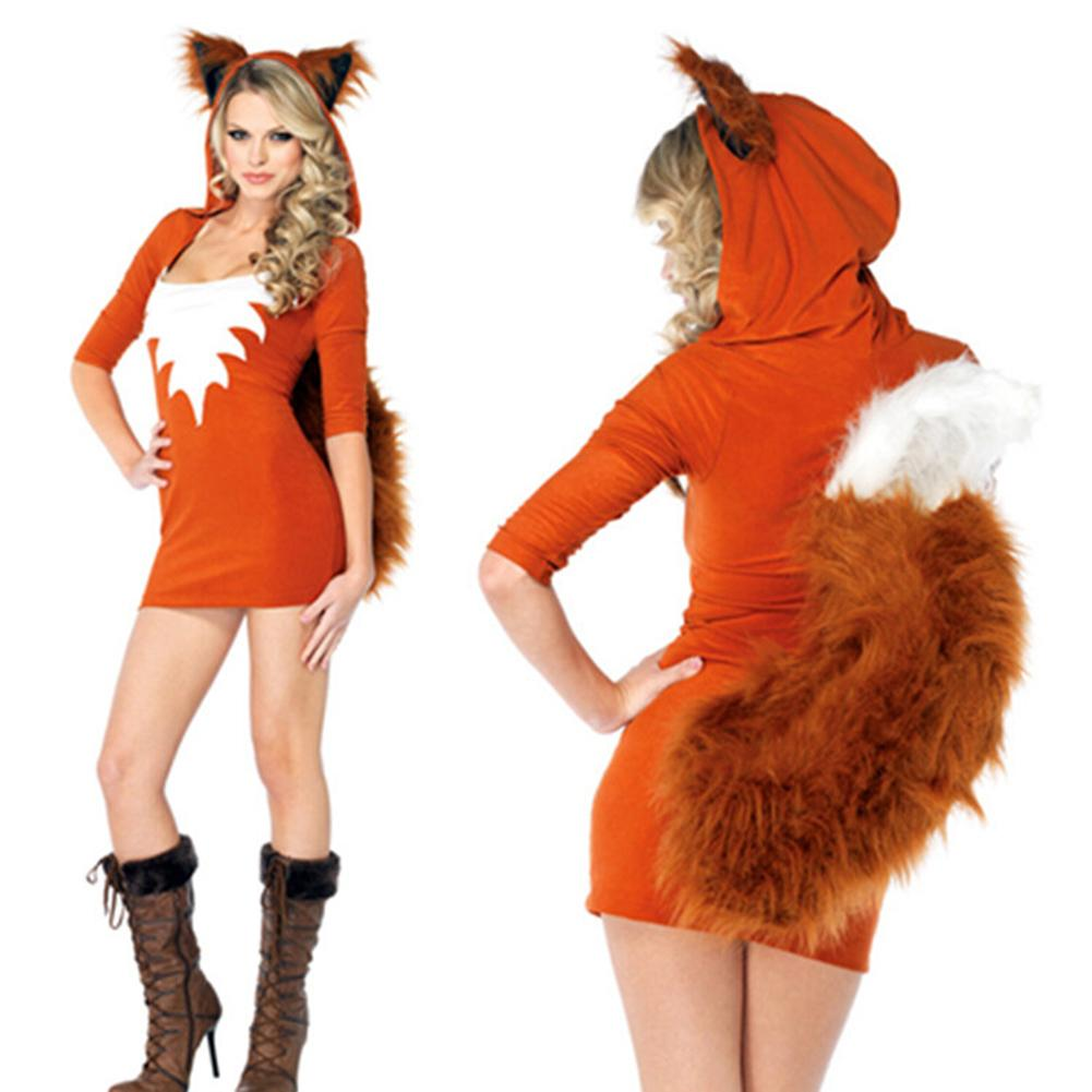 Cartoon Fox Cosplay Costume Dress With Hoodies Kawaii Outwear Game Uniform Role Playing Costume For Halloween Party Women Girl