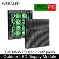 P6 наружный светодиодный модуль 192x192 мм RGB Светодиодная панель 32*32 пикселей IP65 водонепроницаемая рекламная P6 Полноцветная Светодиодная пане...