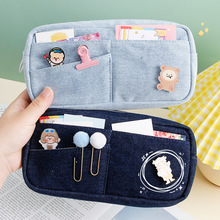 Large Capacity Pencil Case Stationery Big Denim Storage Bags Pen Bag with Pins Cute Makeup Bags School Supplies for Boys Girl