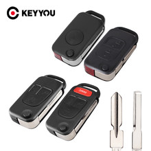 KEYYOU 2/3/4 Кнопка Замена дистанционного Флип Ключа автомобиля оболочка для Mercedes Benz W124 W168 W202 W203 A C E ML C CL S SL SEL SLK E113