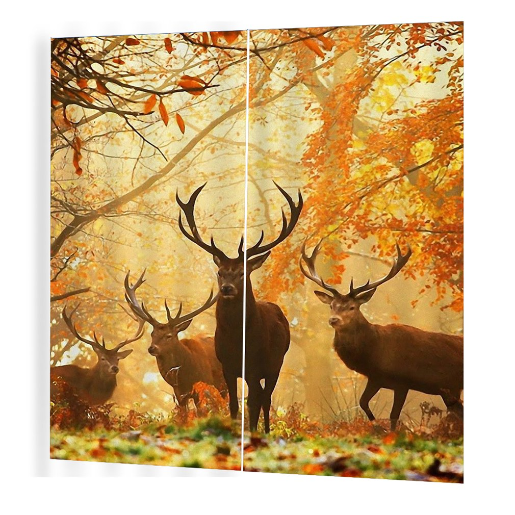 2PCS Shining Deer Window Curtains Home DecorCurtain Deer Yellow Curtain Roman Column Curtains Window Curtain Living Room