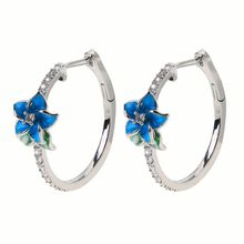 2020 New Elegant Female Enamel Floral Zircon Hoop Earrings Blue Blooming Flower Women Fashion Jewerly
