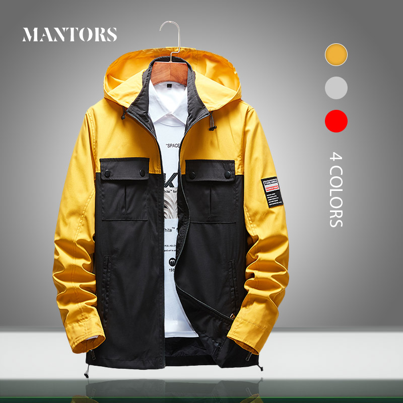 Men Jacket Waterproof Hooded New Casual Mens Windbreaker Jackets Spring Autumn Loose Patchwork Bomber Outerwear Male Clothing5XL