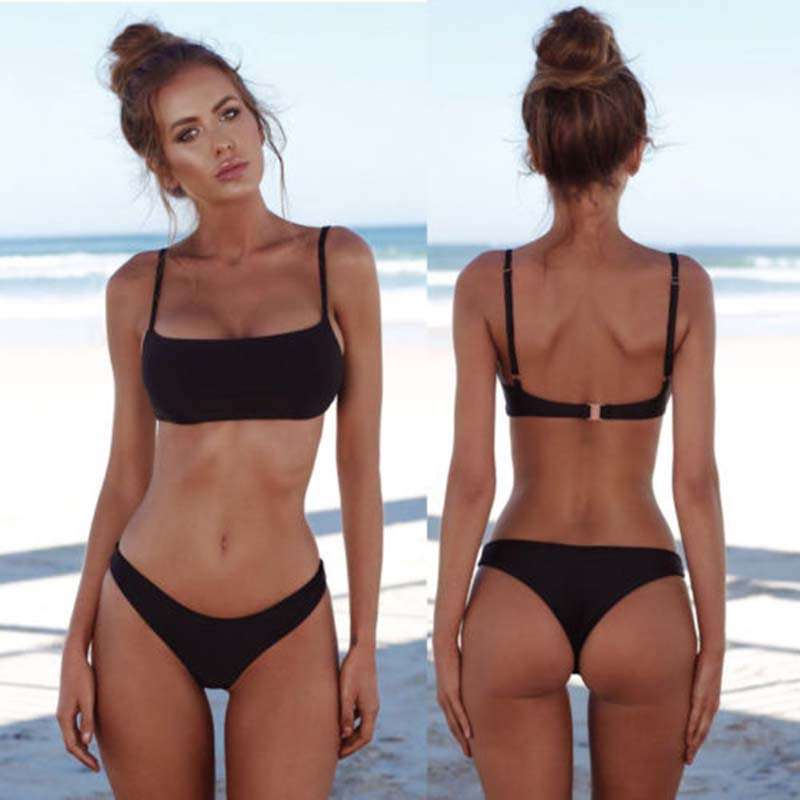 2020 New Summer Women Solid Bikini Set Push-up Unpadded Bra Swimsuit Swimwear Triangle Bather Suit Swimming Suit Biquini