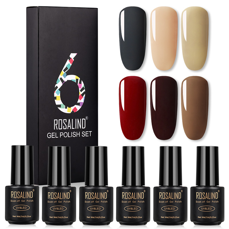 ROSALIND Set Polish Gel Varnish Kit For Nails Manicure Semi Permanent UV Gel Nail Polish Hybrid Lacquer Base Top Coat Nail Art