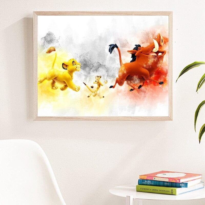 主图_Hakuna_Matata_Watercolor_Print_Wall_Art_Pumbaa_Timon_Simba_Canvas_Poster_The_Lion_King_Art_Painti (1)