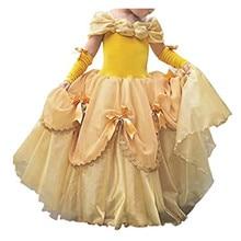 فستان من FINDPITAYA للجميل والوحش للفتيات ملابس جميلة للأطفال لحفلات الكريسماس بحزام صغير لحفلات الراقصة