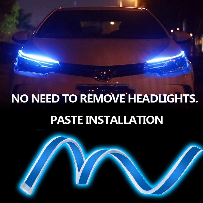 2Pcs Running Lights Flexible Led Drl Daytime Running Light Car Led Strip  Turn Signal Yellow Ultrafine Waterproof