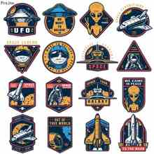 Prajna UFO Alien Iron On Transfers Vinyl Heat Transfer Thermal Ironing Stickers DIY Space PVC Patches For Clothing Applique