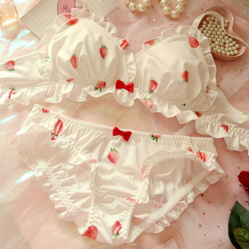Strawberry Cute Japanese Milk Silk Bra & Panties Set Wirefree Soft Underwear Set Kawaii Lolita Bra And Panty Set Pink Lingerie