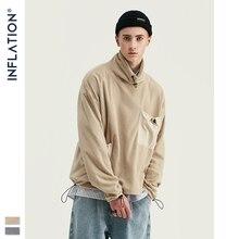INFLATION Design męska bluza z kapturem wysoki kołnierz z polaru z obniżonymi ramionami męska bluza z kieszonkowym kontrastowym kolorem 9675W