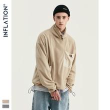 Sudadera con diseño de inflado para hombres, Sudadera con cuello alto, de lana, hombros caídos, sudadera con bolsillo, contraste de Color, 9675W