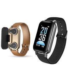 T96 TWS Smart Wristband Bluetooth Headphone Fitness Bracelet Heart Rate Monitor Smart Watch Sport Watch Men Women PK i30 tws