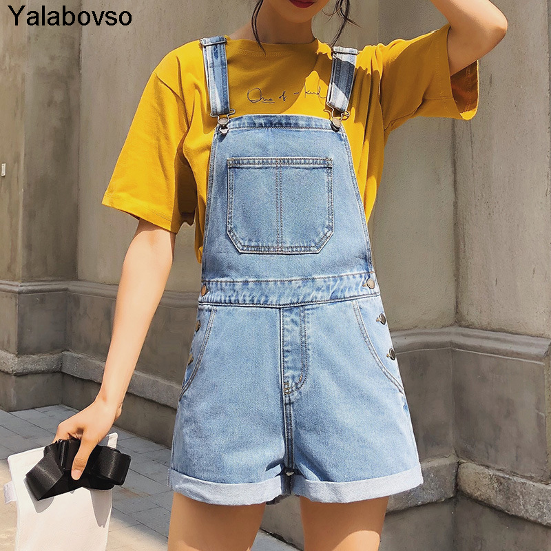2020 Summer Shorts Loose Light Blue Wash Cowboy Overalls For Female  Jeans Woman  Jumpsuit