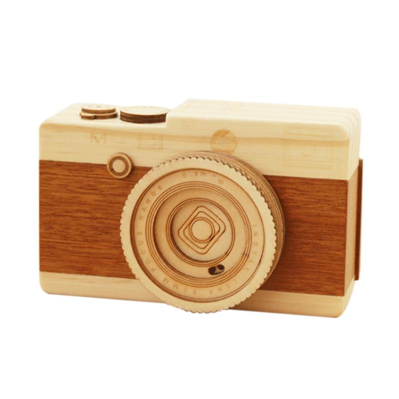 Wooden Music Box Camera Model Music Box Children'S Birthday Gift Rotating Shutter Music Box Decoration Accessories Promotion